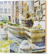 Fountain On The Facade Of The Municipality Wood Print