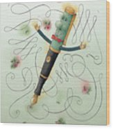 Fountain-pen  Wood Print by Kestutis Kasparavicius
