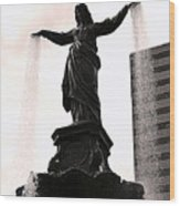 Fountain Square Lady Wood Print