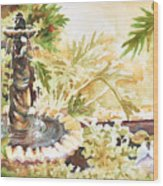 Fountain With Clay Birds Wood Print