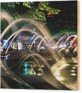 Fountains At Columbus Circle Wood Print