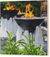 Fountains Of Fire Wood Print