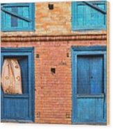 Four Blue Windows Wood Print
