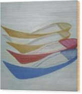 Four Boats And A White One Wood Print