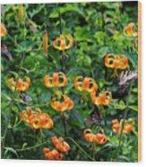 Four Butterflies On Turks Cap Lilies Wood Print