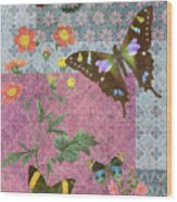 Four Butterfly Patch Blue Wood Print