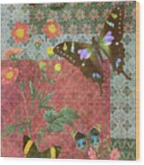 Four Butterfly Patch Green Wood Print