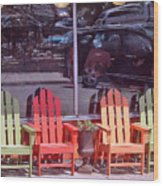 Four Chairs Wood Print