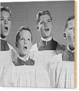 Four Choir Boys Singing, C.1950-60s Wood Print