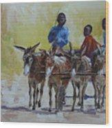 Four Donkey Drawn Cart Wood Print