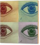 Four Eyes In Pop Art Wood Print