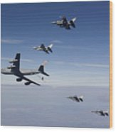 Four F-16s And A Kc-135 Fly Wood Print by HIGH-G Productions