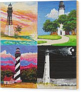 Four Florida Lighthouses Wood Print