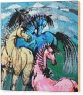 Four Horses Wood Print