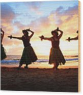 Four Hula Dancers At Sunset Wood Print by David Olsen
