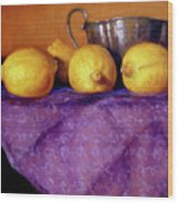 Four Lemons Wood Print
