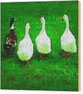 Four Little Ducks Went Out To Play Wood Print