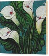 Four Long Lilies Wood Print