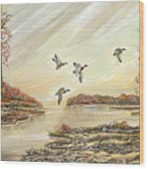Four Mallards Over Autumn Lake Wood Print
