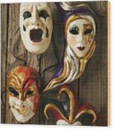Four Masks Wood Print