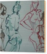 Four Nude Figures Wood Print