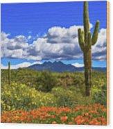 Four Peaks And Poppies, Springtime, Arizona Wood Print