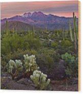 Four Peaks Sunset Wood Print