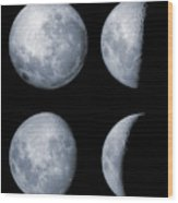 Four Phases Of The Moon Wood Print by Rolf Geissinger