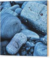 Four Rocks In Blue Wood Print