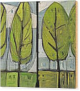 Four Seasons Tree Series Wood Print