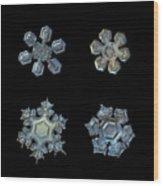 Four Snowflakes On Black 2 Wood Print