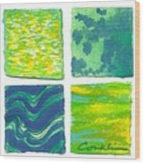 Four Squares Blue, Green, Yellow Wood Print