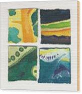 Four Squares Fish Tail Wood Print