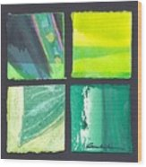 Four Squares Green, Yellow Green, Black Wood Print