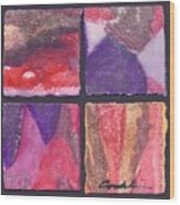 Four Squares Purple, Red, Brown, Lavender Wood Print