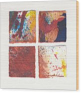 Four Squares Red Flow Wood Print