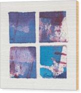 Four Squares Turquoise Flow Wood Print