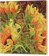Four Sunflowers Wood Print
