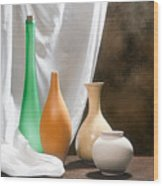 Four Vases I Wood Print by Tom Mc Nemar