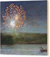 Fourth Of July- Cazenovia Lake Wood Print by Wayne Daniels