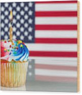 Fourth Of July Cupcake With Light Candle  Wood Print