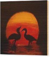 Fowl Love Silhouette Wood Print
