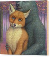 Fox And Bear Couple Wood Print