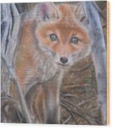 Fox Cub Wood Print