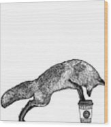 Fox Drinking Coffee Wood Print