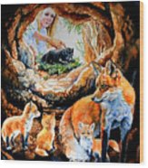 Fox Family Addition Wood Print