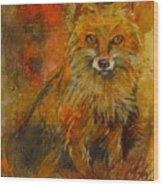 Fox Fire Wood Print