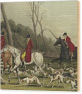 Fox Hunting Going Into Cover Wood Print