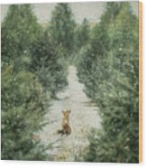 Fox In The Flurries Wood Print