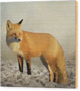Fox In The Snowstorm - Painting Wood Print